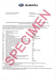 Certificat de conformité européen CoC Subaru