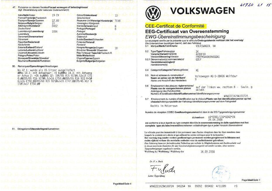 Certificat de conformité  Immatriculer un véhicule importé Volkswagen