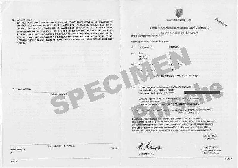 Certificat de conformité Porsche Gratuit au 03 89 57 55 39 ou info@euro-conformite.com