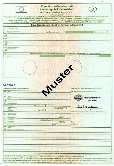 Kfz Brief Nummer Zulassungsbescheinigung Teil 2