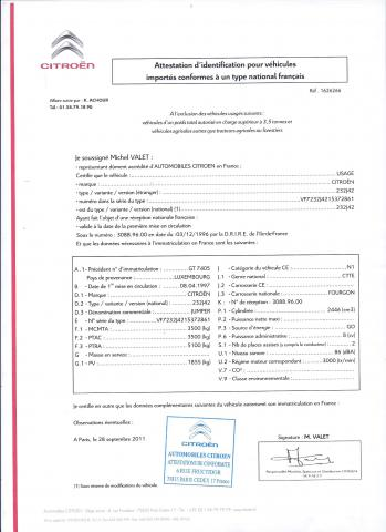 Certificat de conformité Citroen
