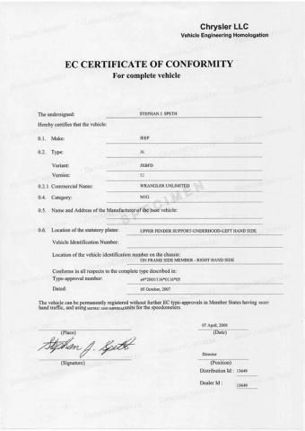 Certificat de conformité jeep