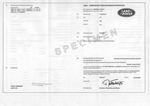 Certificat de conformité land rover