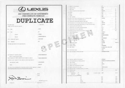 Certificat de conformité lexus